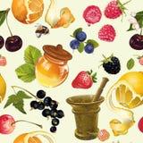 Modelo inconsútil cosmético de la fruta Imagenes de archivo