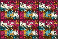 Modelo inconsútil cuadrado del laberinto coloreado, ejemplo plano Foto de archivo