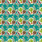 Modelo inconsútil Día de fiesta mexicano Cinco de Mayo Paquete dibujado mano Fotos de archivo
