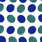 Modelo inconsútil de óvalos con los puntos azules, azules y negros ilustración del vector