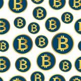 Modelo inconsútil de Bitcoin Fondo de oro de las monedas Diseño del vector Imagenes de archivo
