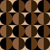 Modelo inconsútil de círculos y de cuadrados en colores del café Stock de ilustración