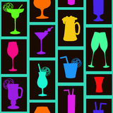 Modelo inconsútil de cócteles y de bebidas Fotografía de archivo