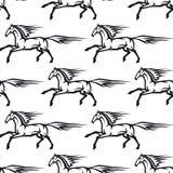 Modelo inconsútil de caballos galopantes Fotografía de archivo