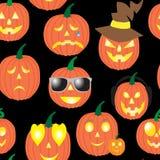Modelo inconsútil de calabazas, sonrisas para Halloween Fotografía de archivo