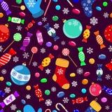 Modelo inconsútil de caramelos y de símbolos de la Navidad Fotos de archivo