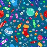 Modelo inconsútil de caramelos y de símbolos de la Navidad Foto de archivo libre de regalías
