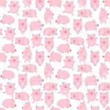 Modelo inconsútil de cerdos divertidos a mano en un fondo transparente Ejemplo del vector de los cochinillos por Año Nuevo, impre imagen de archivo