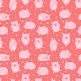 Modelo inconsútil de cerdos a mano y de copos de nieve en un fondo rojo aislado Ejemplo del vector de los cochinillos por el Año  fotografía de archivo libre de regalías