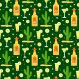 Modelo inconsútil de Cinco de Mayo con tequila y el cactus Fondo sin fin del día de fiesta mexicano, textura Ilustración del vect ilustración del vector