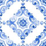 Modelo inconsútil de cobalto del ornamento afiligranado del azul stock de ilustración