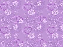 Modelo inconsútil de color de rosa y del corazón Fotografía de archivo libre de regalías