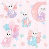 Modelo inconsútil de conejitos blancos lindos en fondo rosado fotografía de archivo