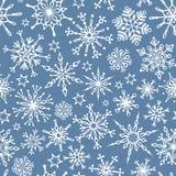 Modelo inconsútil de copos de nieve ilustración del vector