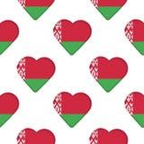 Modelo inconsútil de corazones con la bandera de Bielorrusia stock de ilustración