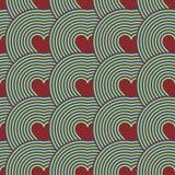 Modelo inconsútil de corazones Ilusión óptica Modelo psicodélico Fotografía de archivo