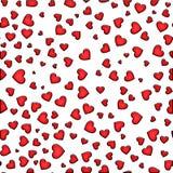 Modelo inconsútil de corazones rojos en un fondo blanco Día del `s de la tarjeta del día de San Valentín ilustración del vector