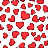 Modelo inconsútil de corazones rojos en un fondo blanco Día del `s de la tarjeta del día de San Valentín libre illustration