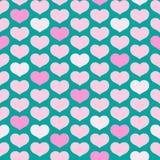 Modelo inconsútil de corazones rosados en un ornamento decorativo del fondo de la turquesa de los corazones para el diseño de tar ilustración del vector
