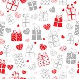 Modelo inconsútil de corazones y de cajas de regalo Imágenes de archivo libres de regalías