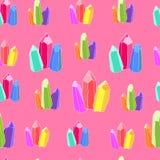 Modelo inconsútil de cristales coloridos hermosos en un rosa libre illustration