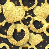 Modelo inconsútil de día de San Valentín con los corazones brillantes Ejemplo de la tarjeta del día de fiesta en fondo oscuro ilustración del vector