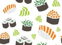 Modelo inconsútil de diverso sushi Imágenes de archivo libres de regalías