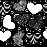 Modelo inconsútil de diversos corazones, negro en blanco Fotografía de archivo libre de regalías