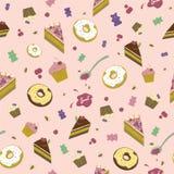 Modelo inconsútil de dulces, de anillos de espuma, de tortas y de la mermelada en un fondo rosado ilustración del vector