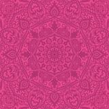 Modelo inconsútil de encaje ornamental rosado, mandalas, fondo del cordón stock de ilustración