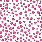 Modelo inconsútil de enguantar pinkhearts en un fondo blanco Día del `s de la tarjeta del día de San Valentín stock de ilustración