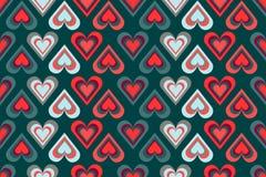Modelo inconsútil de esquemas multicolores del corazón en fondo brillante en paletas de colores de moda ilustración del vector