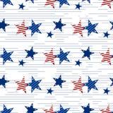 Modelo inconsútil de estrellas en el fondo blanco 4 de julio Papel pintado de las barras y estrellas Fotografía de archivo