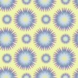 Modelo inconsútil de flores estilizadas en color azul en un fondo amarillo Ilustración del vector Fotografía de archivo libre de regalías