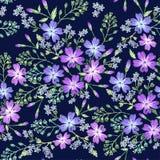 Modelo inconsútil de flores púrpuras hermosas stock de ilustración