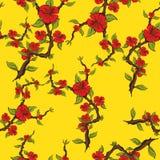 Modelo inconsútil de flores rojas en un fondo amarillo Puntilla del flor de la manzana Fotos de archivo libres de regalías