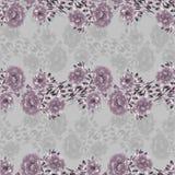 Modelo inconsútil de flores salvajes de color rosa oscuro y grises en un fondo gris watercolor stock de ilustración