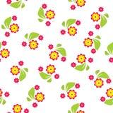 Modelo inconsútil de flores y las hojas en el fondo blanco - vector el ejemplo Foto de archivo