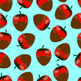 Modelo inconsútil de fresas en chocolate Foto de archivo