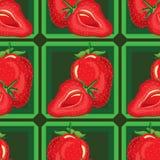 Modelo inconsútil de fresas maduras Fotos de archivo libres de regalías