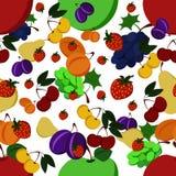Modelo inconsútil de frutas brillantes Fotos de archivo libres de regalías