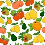 Modelo inconsútil de frutas frescas dulces Fotos de archivo libres de regalías