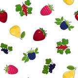 Modelo inconsútil de frutas y de bayas Foto de archivo libre de regalías