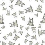 Modelo inconsútil de gatos en estilo de la historieta ilustración del vector