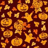 Modelo inconsútil de Halloween con las calabazas y los fantasmas stock de ilustración