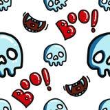 Modelo inconsútil de Halloween del abucheo y del cráneo stock de ilustración