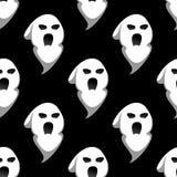 Modelo inconsútil de Halloween del fantasma de la noche Foto de archivo libre de regalías