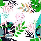 Modelo inconsútil de hojas tropicales con Memphis libre illustration