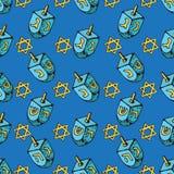 Modelo inconsútil de Jánuca del día de fiesta judío Sistema de los símbolos tradicionales de Hanukkah - dreidels, luces que brill