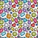 Modelo inconsútil de joyas coloridas Imagen de archivo libre de regalías